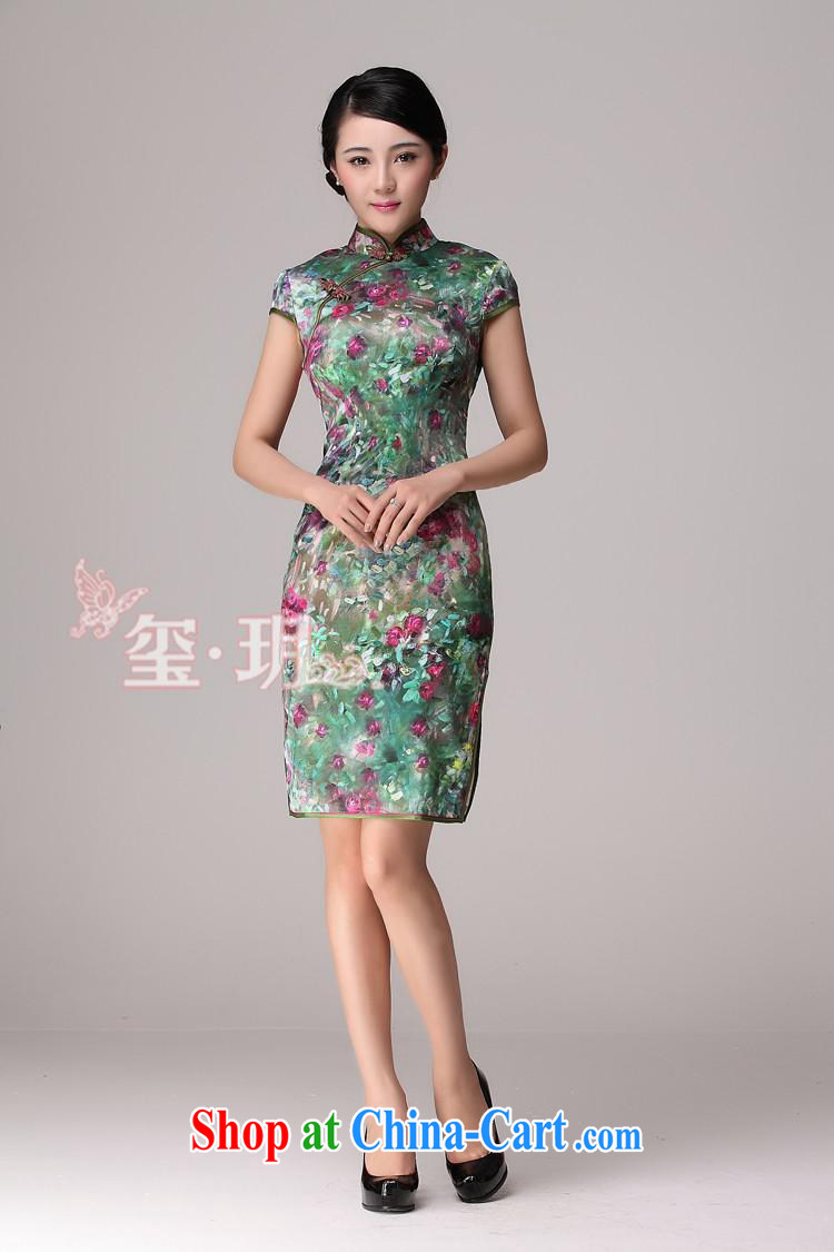 2014 new summer upscale Silk Cheongsam improved stylish summer day retro dresses picture color XL pictures, price, brand platters! Elections are good character, the national distribution, so why buy now enjoy more preferential! Health