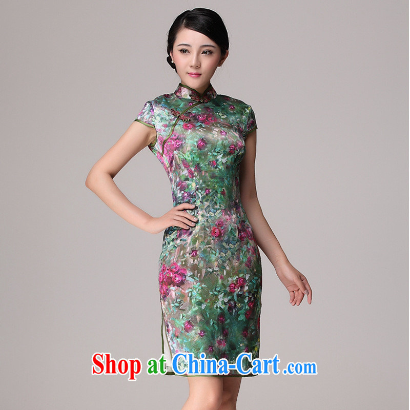 2014 new summer upscale Silk Cheongsam improved stylish summer day retro dresses picture color XL