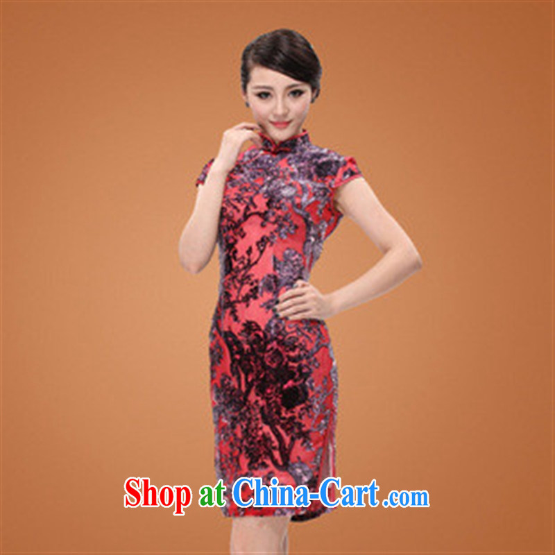 2014 new summer really high velvet cheongsam beauty short velvet cheongsam cheongsam picture color XXXXL