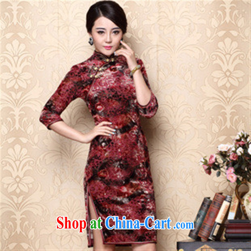 elections -- 2014 fall_winter new improved cheongsam retro short paragraph 75 sub-long-sleeved winter cheongsam wholesale red L