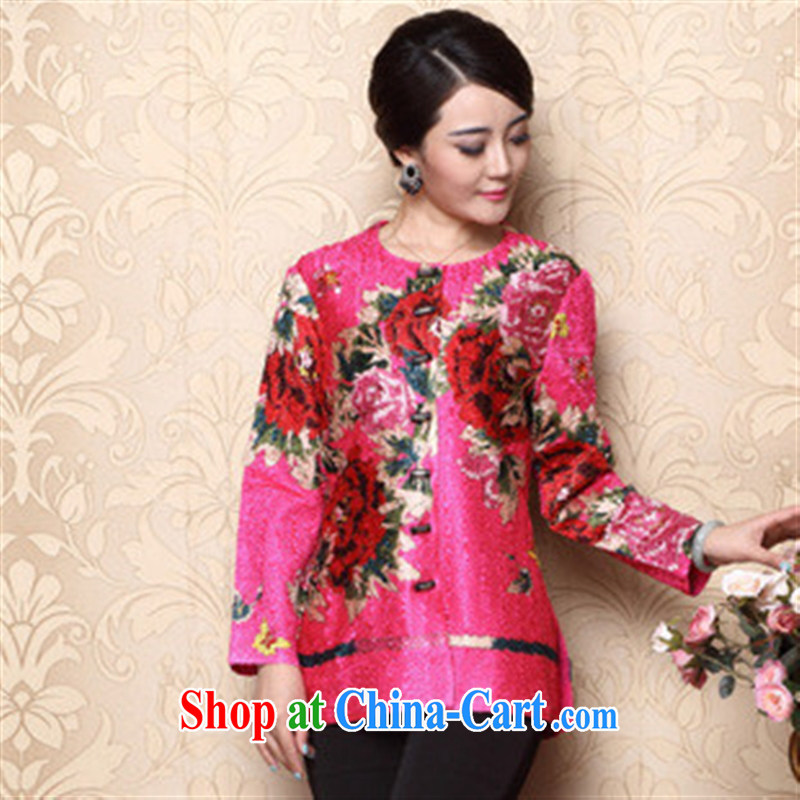 Elections 2014 as soon as possible new Tang replace Ms. load fall ethnic wind female long-sleeved wrinkled Chinese T-shirt of the Peony XXXL