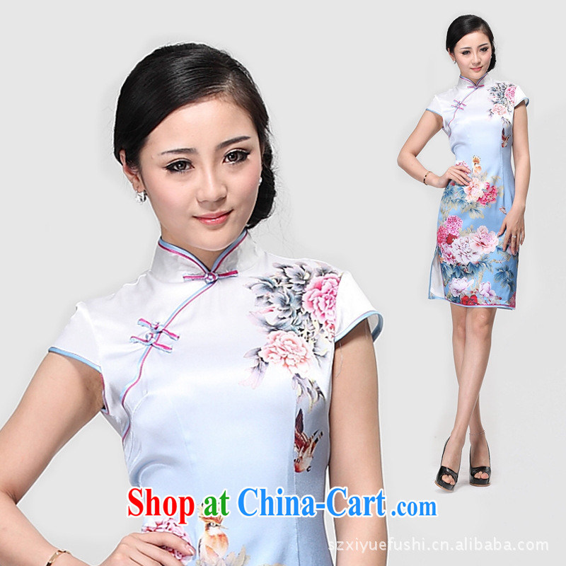 Heavy Silk Cheongsam improved stylish summer dresses skirt rich flowers short cheongsam wholesale picture color XXL