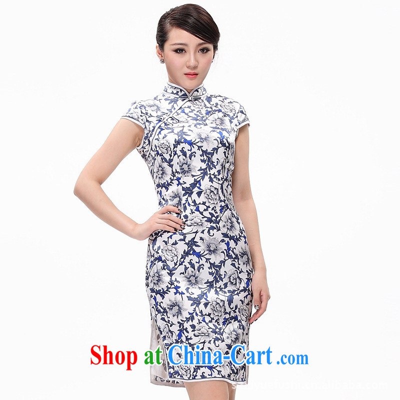 Classic Blue summer heavy Silk Cheongsam blue and white porcelain cheongsam stylish improved cheongsam picture color XXL