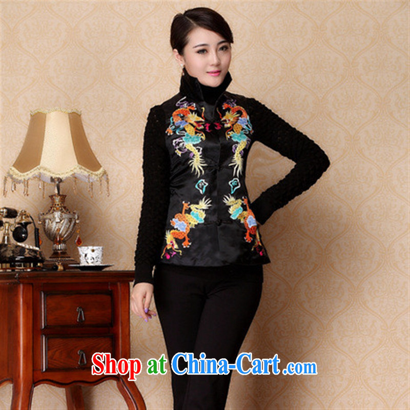 Winter 2014 new improved quilted coat, a vest, for the waist, Ms. Shen T-shirt black XXXL