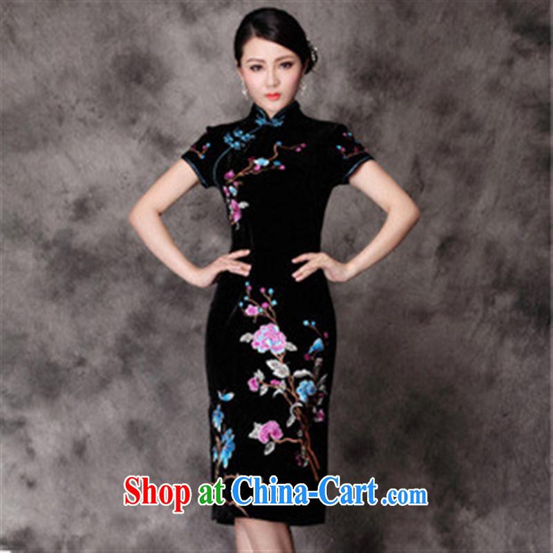 Autumn is new, true velvet flowers snap short-sleeved dresses retro beauty dresses black XXXXL