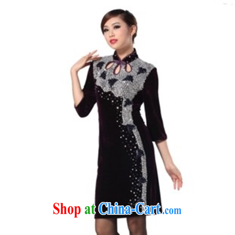 Stylish and improved wool manually the pearl dresses in short sleeves cheongsam 2014 new spring decor, dress purple XXXXL