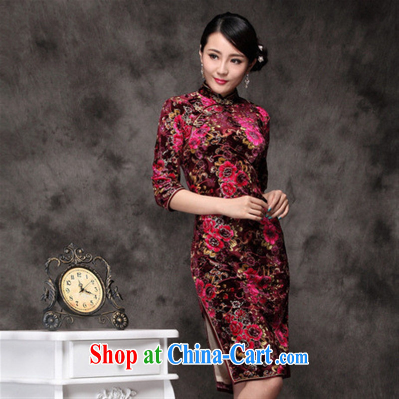 Winter new outfit really scouring pads black flower cuff improved cheongsam qipao antique wholesale picture color XXXL