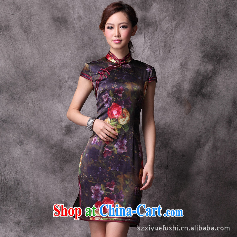 Mr Ronald ARCULLI sleek silk sauna Silk Cheongsam dress short-sleeved Silk Cheongsam dress wholesale picture color XXL