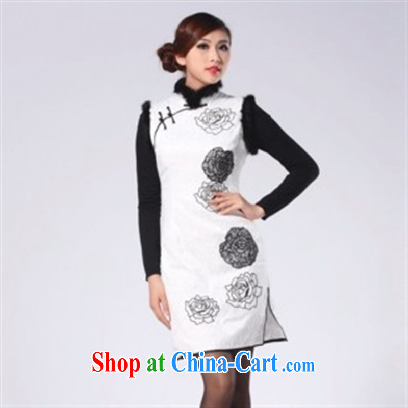 2014 new spring dresses and hair clips cotton car take short cheongsam warm beauty-white XXL