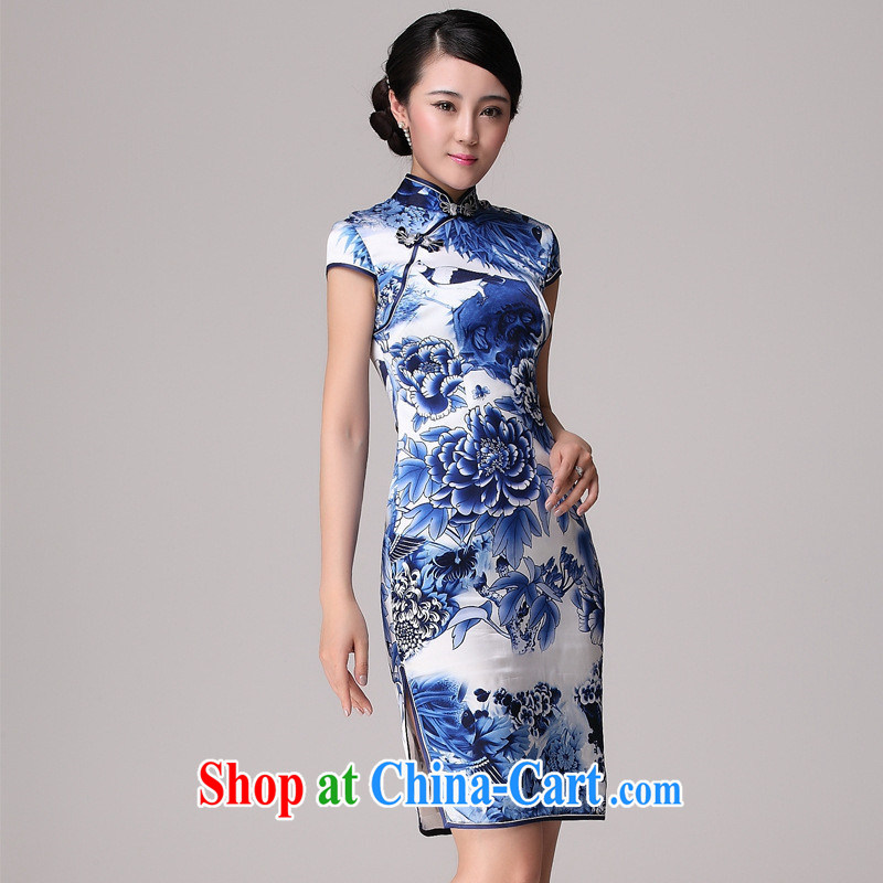 elections -- Summer 2014 New Products heavy Silk Cheongsam girls improved cultivating retro-day qipao cheongsam picture color XXL