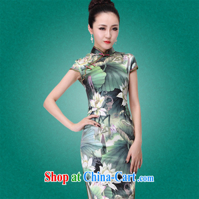 New Listing sauna Silk Cheongsam simple and elegant and exclusive heavy silk summer Lotus beauty picture color XXL