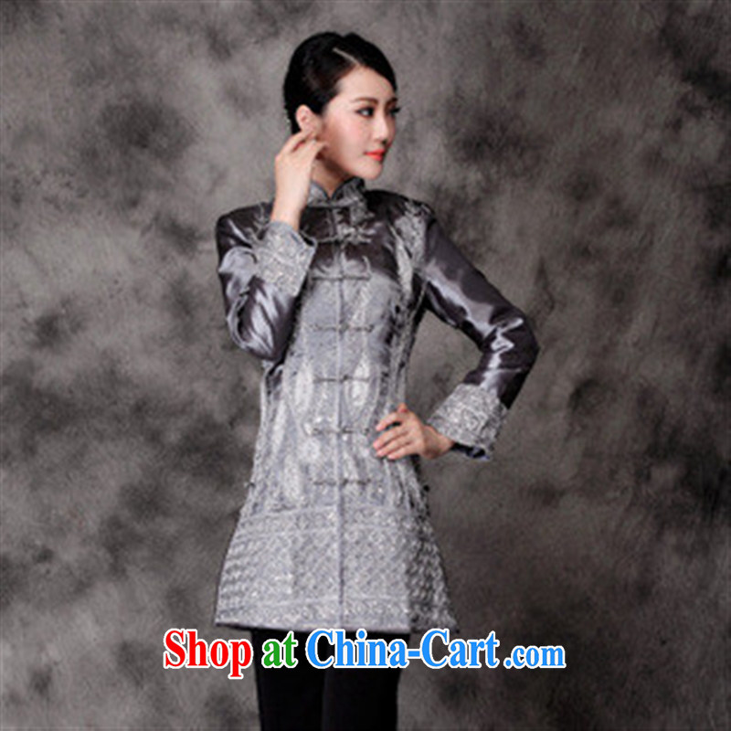 2014 fall/winter New China wind Chinese Autumn with Chinese improved long-sleeved long cheongsam shirt light gray M