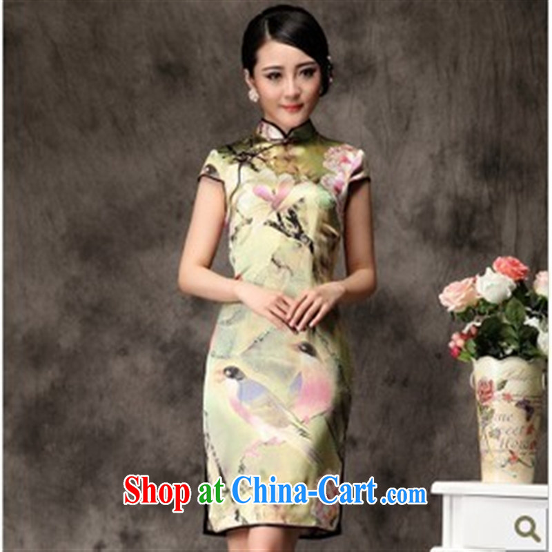 Take the butterfly sauna silk heavy Silk Cheongsam summer 2014 new improved stylish dresses skirts wholesale picture color XXL