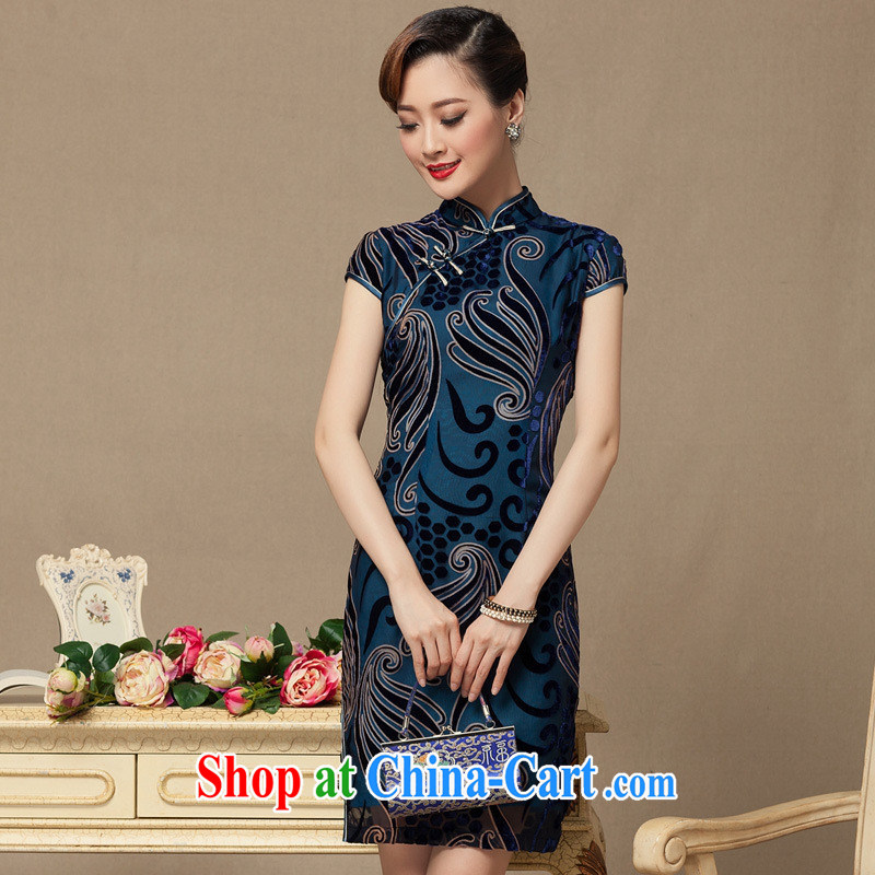 2014 summer and autumn new short, true velvet cheongsam dress retro Republic Ms. wind cheongsam dress blue S