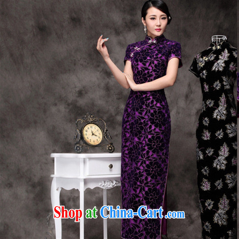 Winter new dresses long dresses and elegant antique improved cultivating everyday dresses wholesale purple XXXL