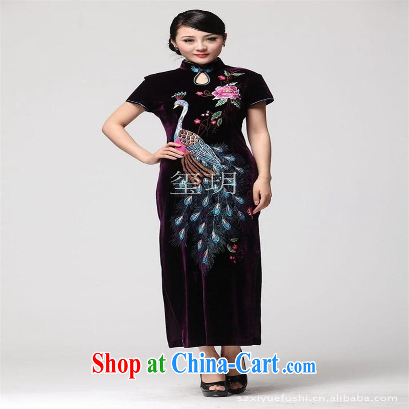 2014 spring and summer new improved really velvet cheongsam Peacock embroidery fashion, older dress dresses purple M
