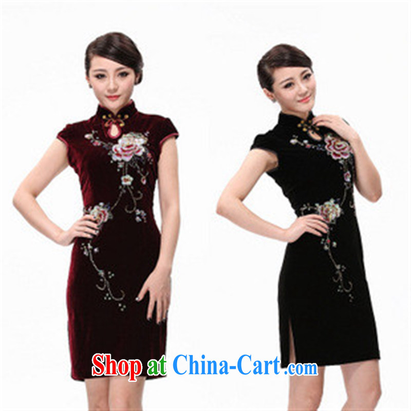 2014 spring wool the Pearl River Delta _PRD cheongsam dress short-sleeved short cheongsam stylish improved beauty dress purple XXXXL