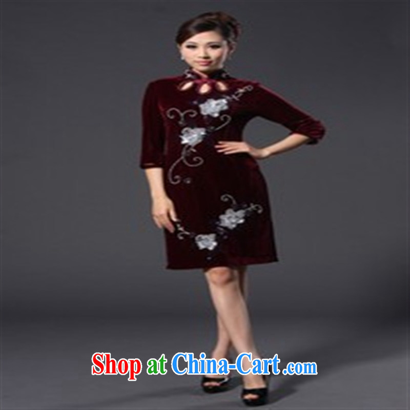Spring 2014 new, plush robes and stylish beauty improvement cuff in cheongsam dress purple XXL