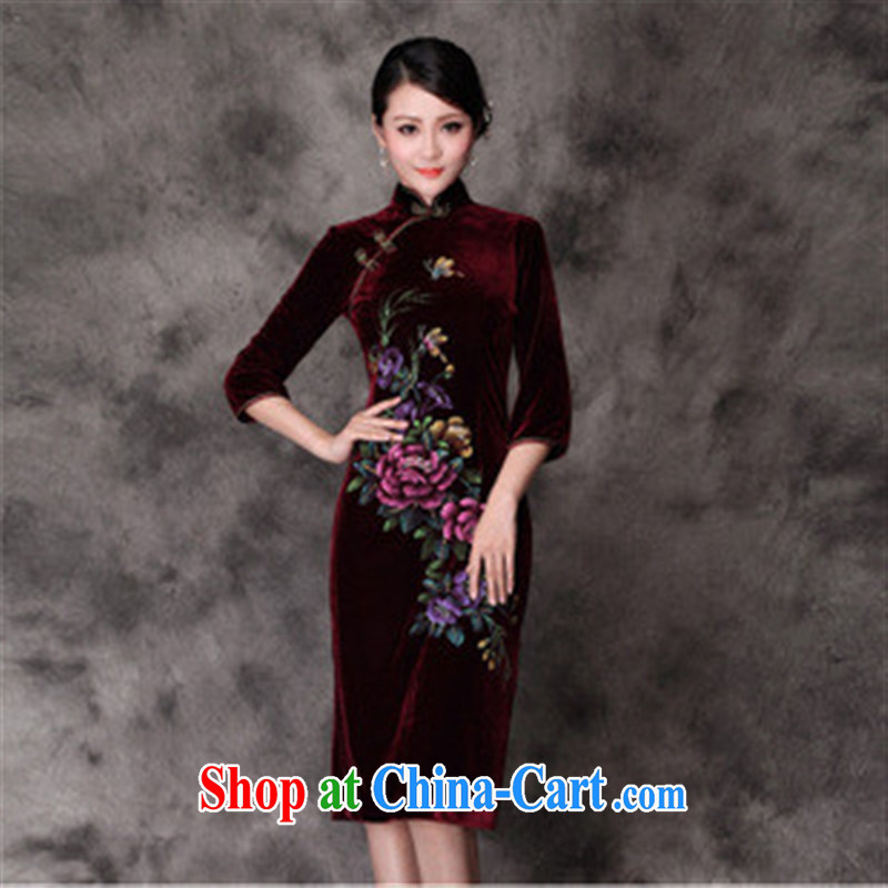 Fall_Winter dresses retro_hand-painted high quality is really plush robes, long-sleeved_banquet daily qipao gown maroon XXXXL