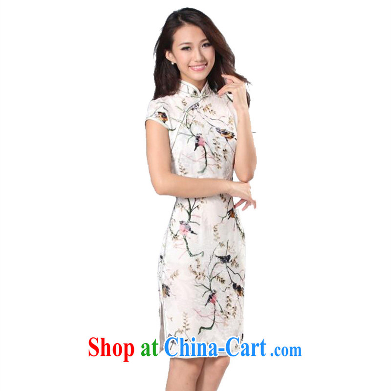 cheongsam wholesale 2014 new spring short-sleeved robes singing birds and fragrant flowers high quality silk/fashion cheongsam white XXXL