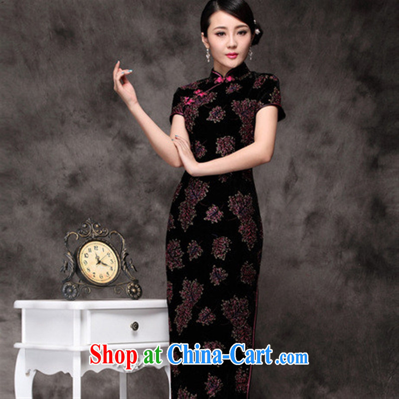 New Long cheongsam improved beauty dress retro black spend long lint-free cloth robes wholesale picture color XXXL