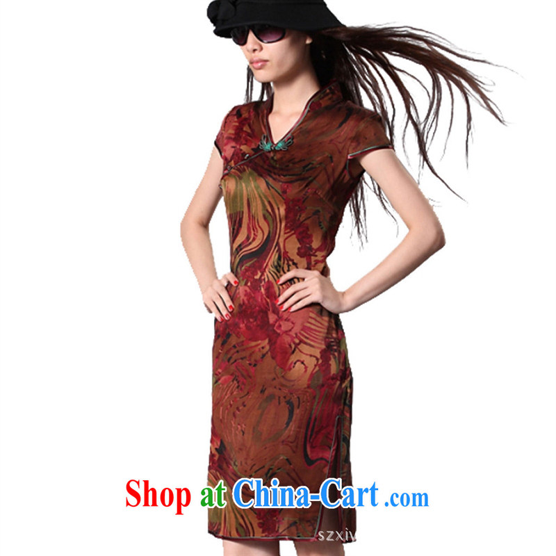 cheongsam wholesale factory direct Hong Kong cloud yarn is estimated Silk Cheongsam silk fabrics yellow and brown M