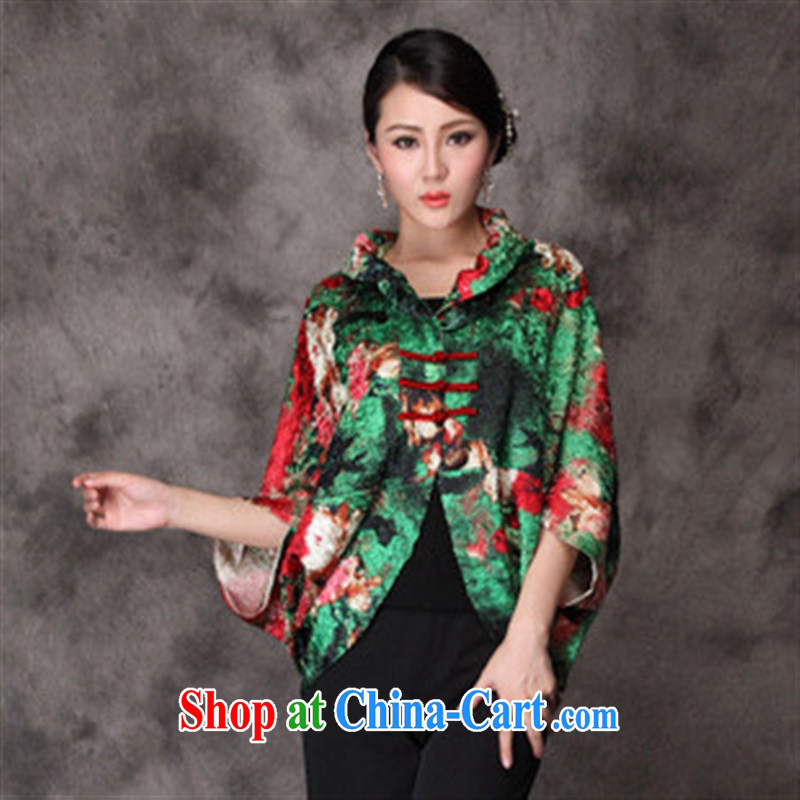 2014 New National wind large shawl cloak stylish silk creases 100 ground shawl dresses with green suits are code