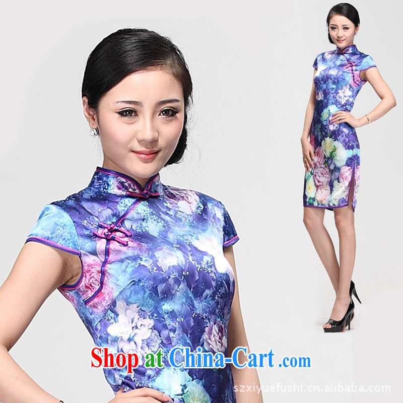 elections -- heavy Silk Cheongsam stylish improved Peony heavy silk retro dresses wholesale picture color M