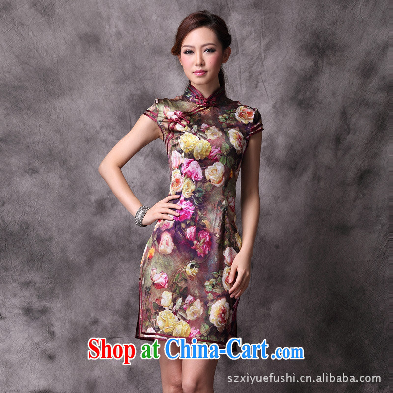 2014 summer new, improved cheongsam stylish cultivating roses Silk Cheongsam wholesale picture color pre-sale XXL