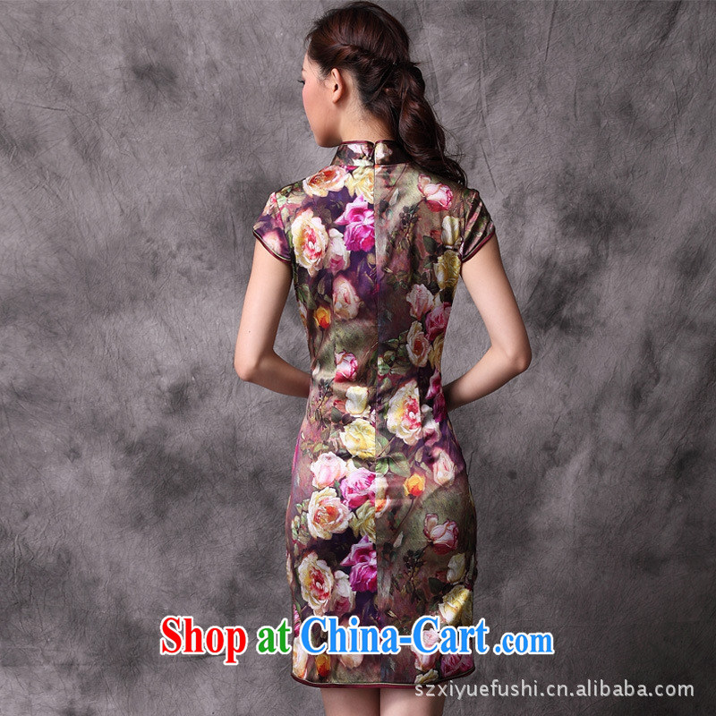 2014 summer new, improved cheongsam stylish cultivating roses Silk Cheongsam wholesale picture color pre-sale XXL, health concerns (Rvie .), and, on-line shopping