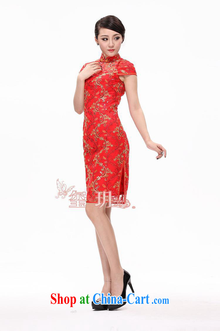 2014 new cultivation improved cheongsam stylish wedding dresses dresses lace dress cheongsam dress red XXL pictures, price, brand platters! Elections are good character, the national distribution, so why buy now enjoy more preferential! Health