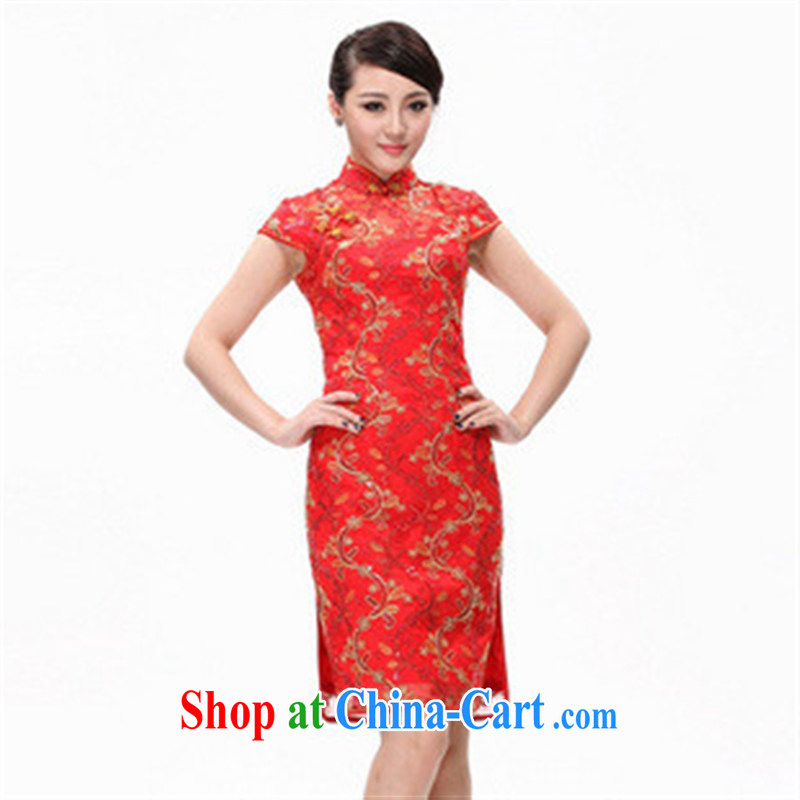 2014 new cultivation improved cheongsam stylish wedding dresses dresses lace dress cheongsam dress red XXL