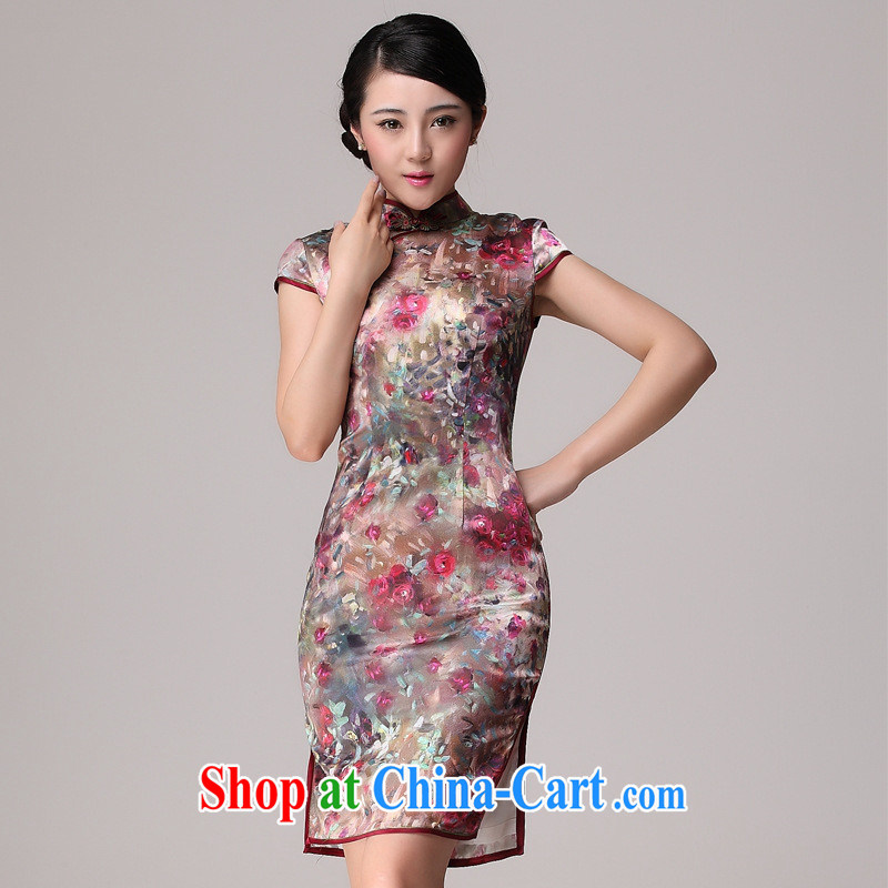 2014 new dresses summer sauna silk upscale heavy silk stylish improved daily outfit summer red XL