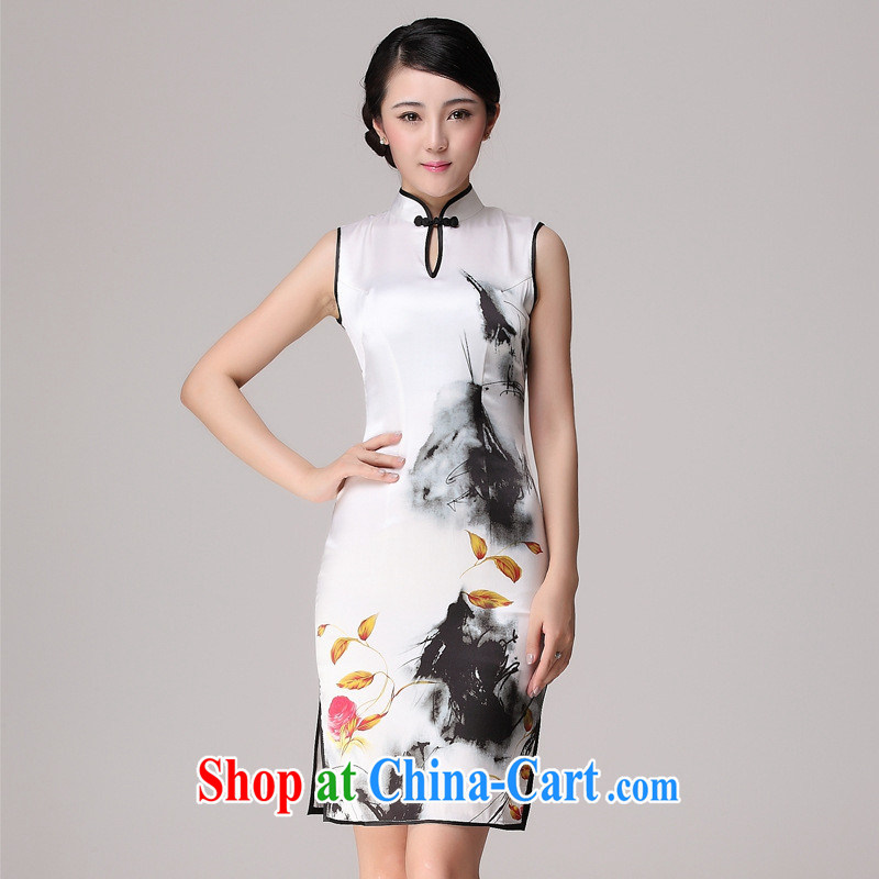 Summer Silk Cheongsam New Beauty retro daily outfit heavy Silk Cheongsam picture color XXL