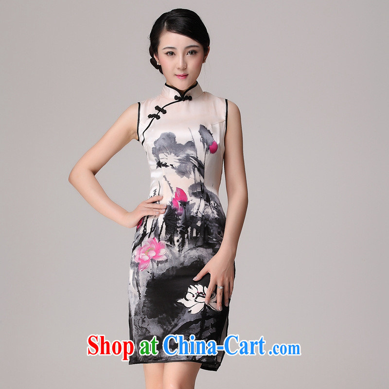 2014 improved cheongsam Chinese painting flag robe skirt summer stylish classic heavy silk short cheongsam dress picture color XXL
