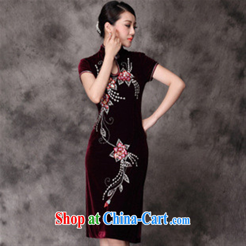 Factory direct sales fall and winter new upscale really velvet cheongsam wholesale, long evening dress purple 5 XL