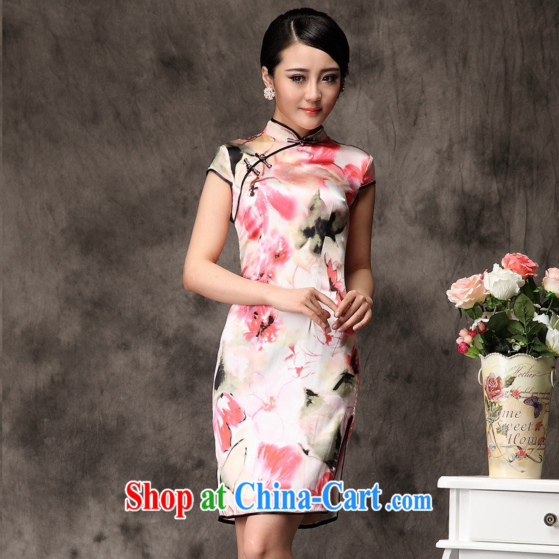 elections as soon as possible video cherry blossoms summer 2014 new beautiful is LB silk improved fashion cheongsam wholesale picture color XXL