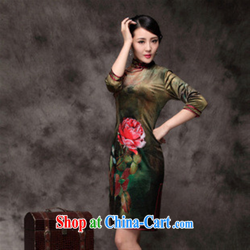 2014 fall_winter new Chinese qipao cheongsam banquet the lint-free cloth green XXXL