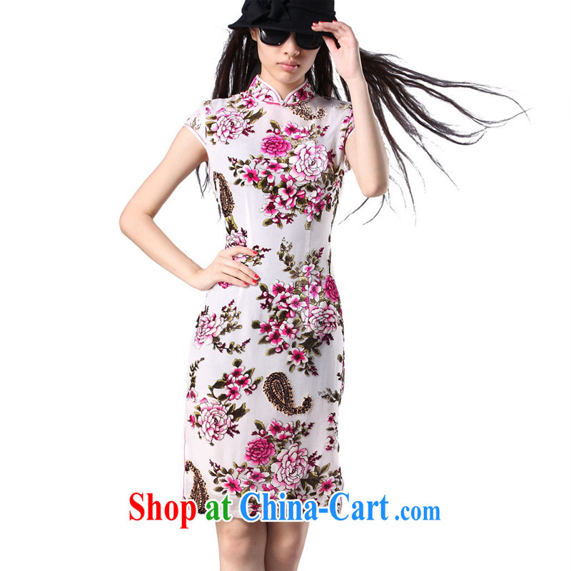 short-sleeved dresses new stylish robes Silk Velvet cheongsam cheongsam wholesale factory direct picture color XXXXL