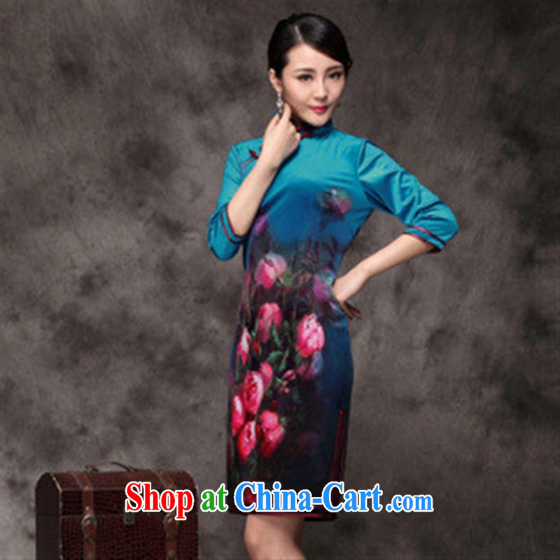 Winter 2014 new Chinese improved cheongsam, long-sleeved dresses upscale Korean lint-free blue XXXL