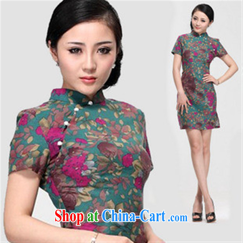 2014 the commission cotton linen dresses/improved linen cheongsam dress/Summer retro dresses/floral short cheongsam picture color XL