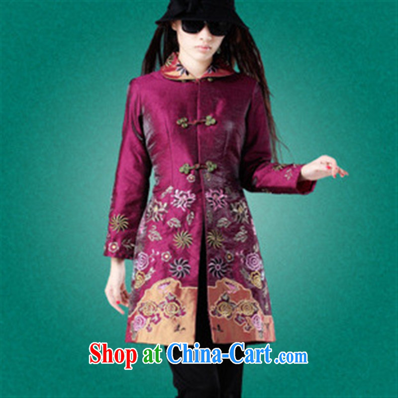 2014 spring 7 star, accompanied by new Folder thin cotton Tang_jacket Tang_New Year Chinese wine red XXXL