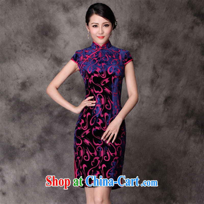 cheongsam wholesale factory direct real silk velvet fashion improved cheongsam picture color XXXXL