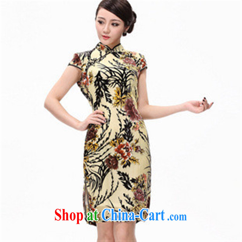 2014 new improved stylish summer really scouring pads 100 flowers and cuff short cheongsam dress picture color XXXXL