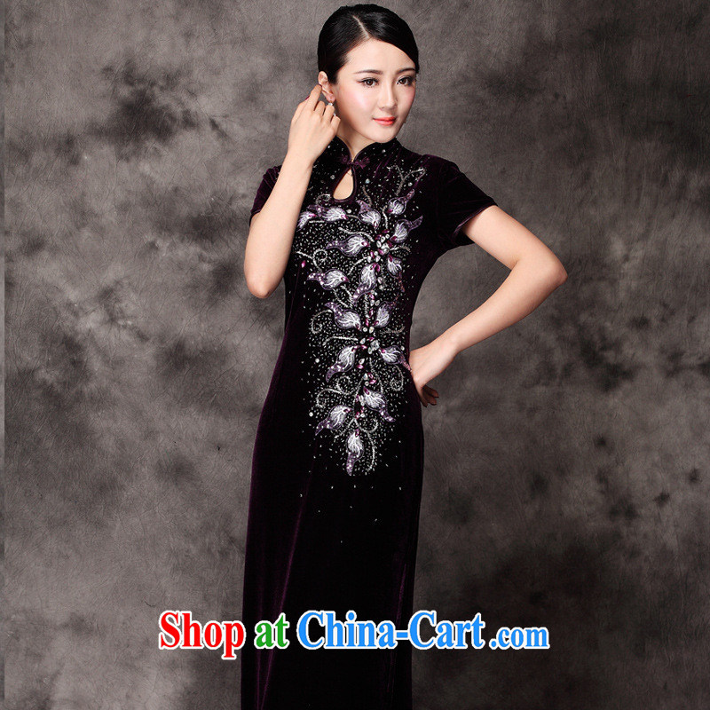 fall and winter New Long cheongsam improved cultivating manually staple Pearl dresses dress cheongsam wholesale purple M