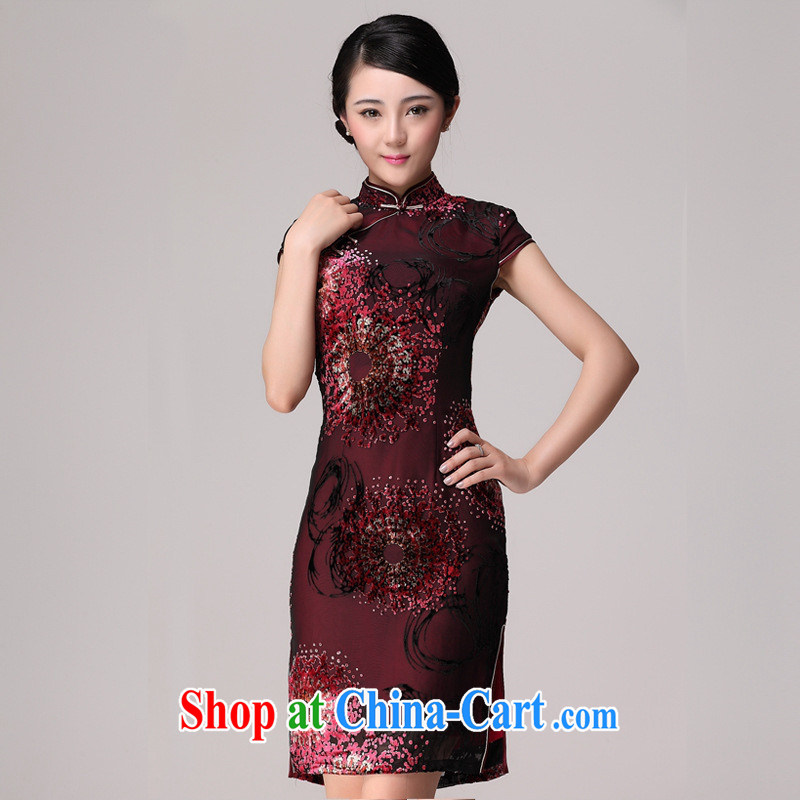 Summer 2014 new black flower lint-free cloth Silk Cheongsam improved cultivating modern day retro girl cheongsam dress red XXXXL