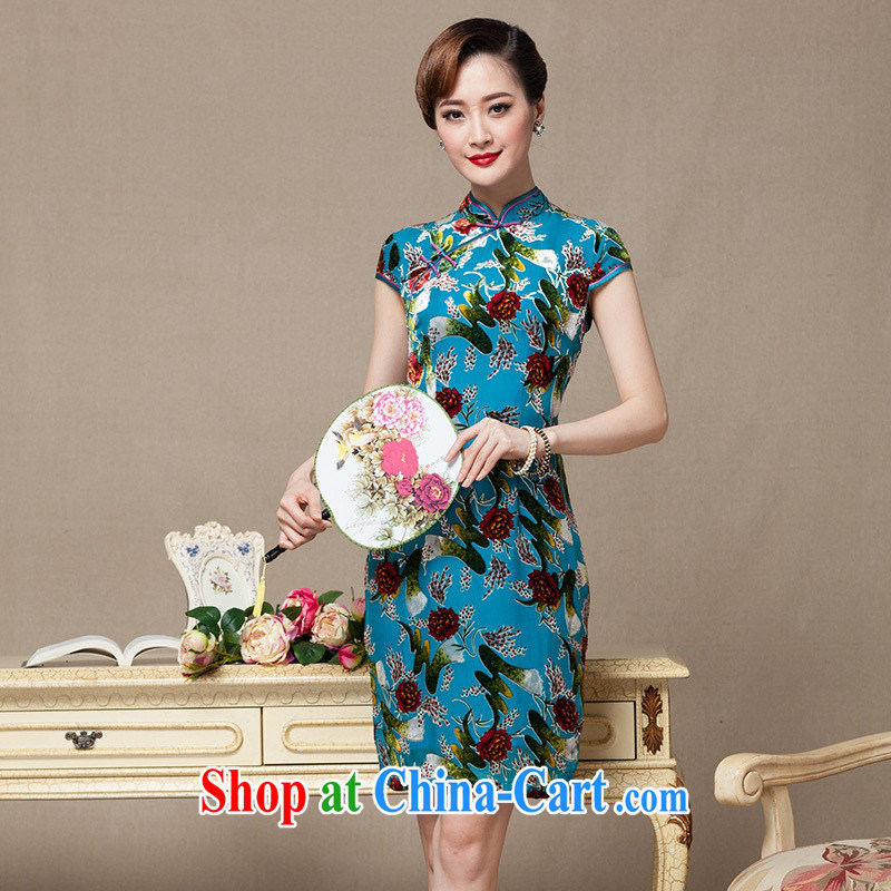 It blooms summer wool dresses daily improved dress China wind flocking antique dresses Ms. blue skirt XXXXL
