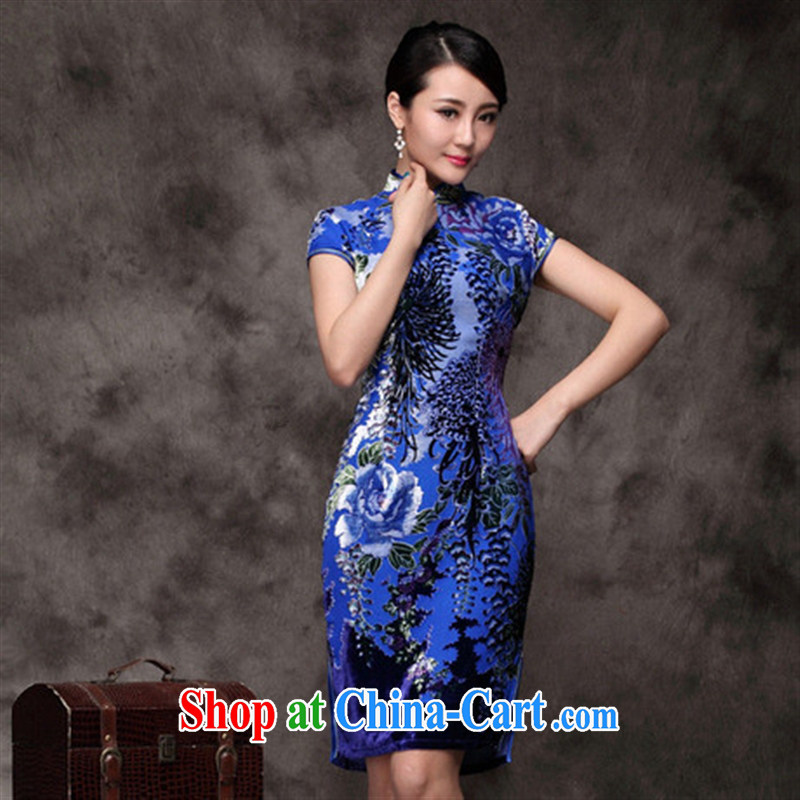 cheongsam wholesale factory direct Silk Cheongsam stylish improved cheongsam cultivating short-sleeved dresses blue XXXXL