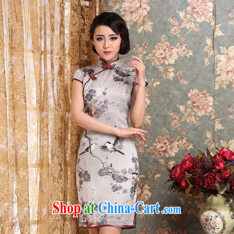Elections 2014 as soon as possible new Silk Dresses, summer girl cheongsam short-sleeved improved retro heavy Silk Cheongsam picture color XXL