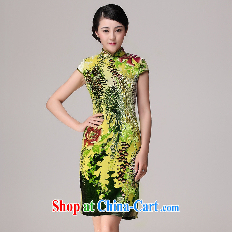 cheongsam wholesale 2014 new spring new cheongsam Silk Velvet cheongsam stylish improved picture color XXXXL